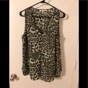 Cheetah print sleeveless blouse